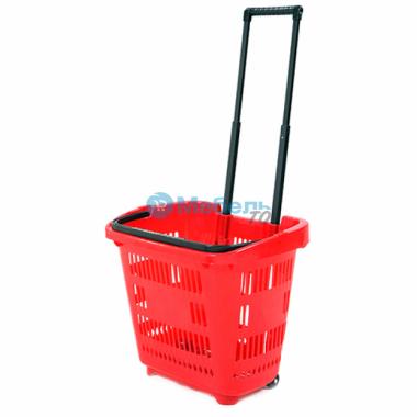 Корзина-тележка на 2-х колесах пластиковая на 34 литра