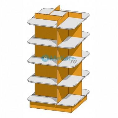 Стеллаж островной 4-х сторонний для аптеки 700х700х1500 мм